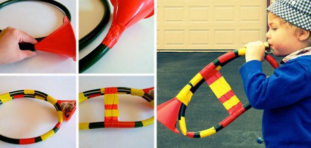 instrumentos para niños, instrumentos con material reciclado, instrumentos musicales con materiales de casa, trompeta